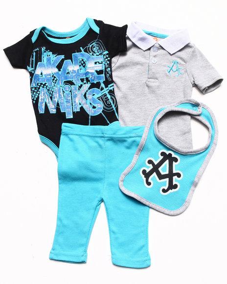 Akademiks Boys Black 4 Pc Set Polo, Bodysuit, Pants, & Bib Set (Newborn)