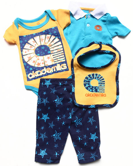 Akademiks - Boys Blue 4 Pc Set - Polo, Bodysuit, Pants, & Bib Set (Newborn) - $11.99