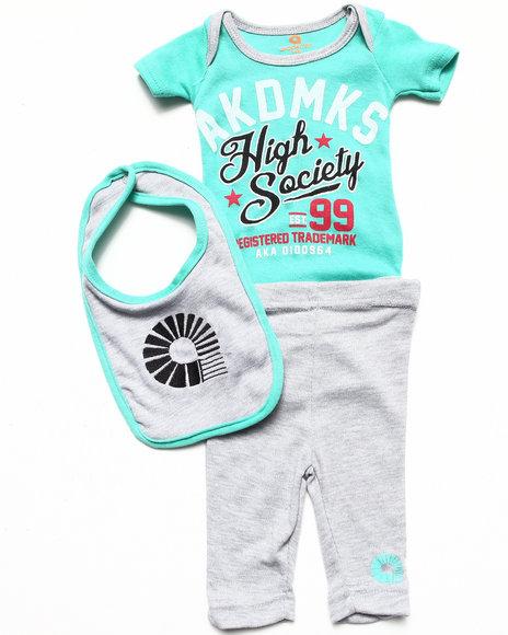 Akademiks - Boys Grey 3 Pc Set - Bodysuit, Pants, & Bib (Newborn) - $8.99
