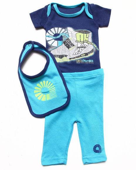 Akademiks - 3 PC SET - SNEAKER BODYSUIT, PANTS, & BIB (NEWBORN)
