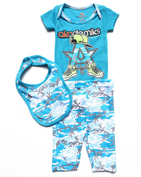 Akademiks Boys Blue 3 Pc Set Bodysuit, Camo Pants, & Bib (Newborn)