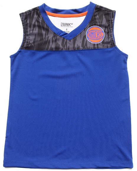 NBA MLB NFL Gear Boys Blue New York Knicks Asphalt Tank (8-20)