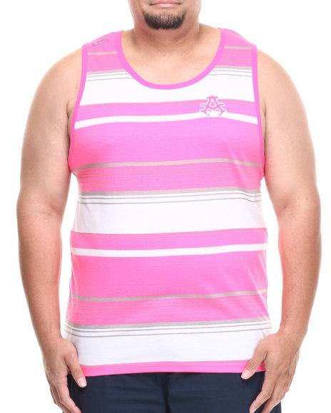 Akademiks - Men Pink Houston Striped Tank (B&T) - $5.99