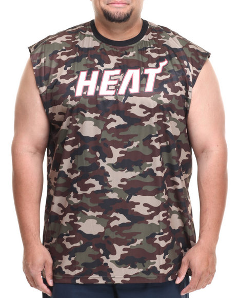 Nba, Mlb, Nfl Gear - Men Camo Miami Heat Tactics Muscle Tee (B&T)