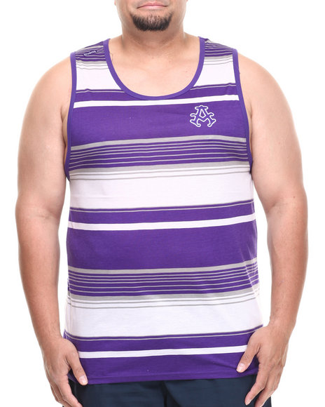 Akademiks - Men Purple Houston Striped Tank (B&T)