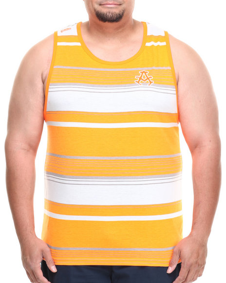 Akademiks - Men Orange Houston Striped Tank (B&T)