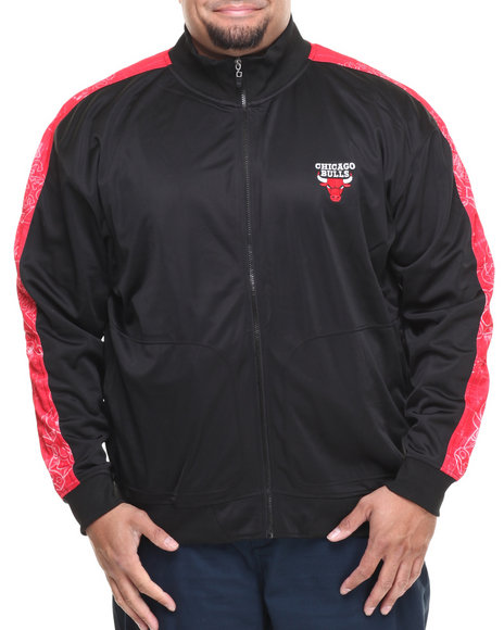 Nba, Mlb, Nfl Gear - Men Black,Red Chicago Bulls Blueprint Track Jacket (B&T)