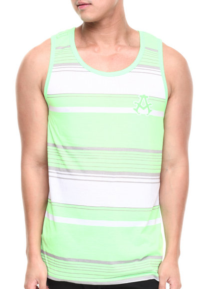 Akademiks - Men Neon Green Houston Striped Tank