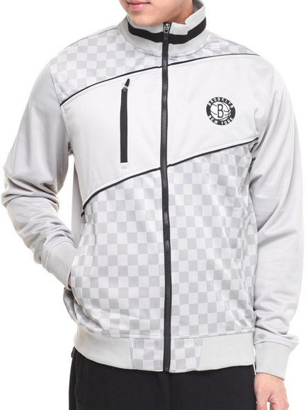 Nba, Mlb, Nfl Gear - Men Grey Brooklyn Nets Drive Track Jacket