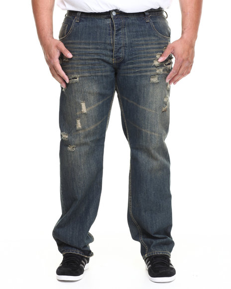 Parish Dark Blue Ripped Torn Jean (Big & Tall)