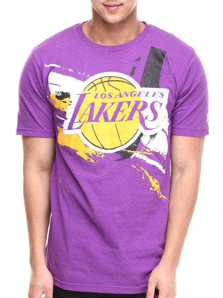 Nba, Mlb, Nfl Gear - Men Purple Los Angeles Lakers Splatter Tee