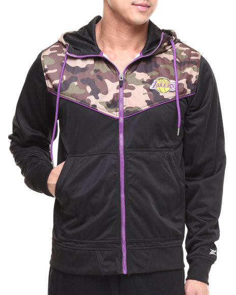 Nba, Mlb, Nfl Gear - Men Black,Camo Los Angeles Lakers Commando Track Jacket