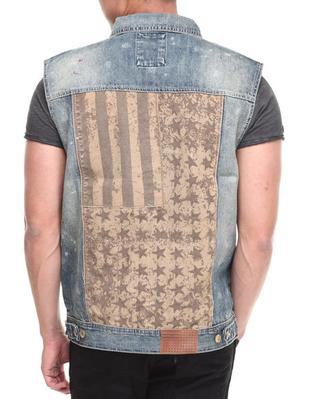Parish Medium Wash Flag Mix Denim Vest