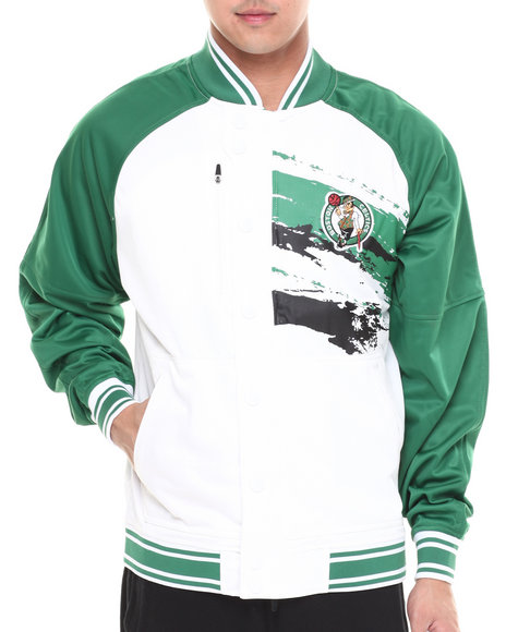 Nba, Mlb, Nfl Gear - Men Green,White Boston Celtics Kareem Varsity Jacket