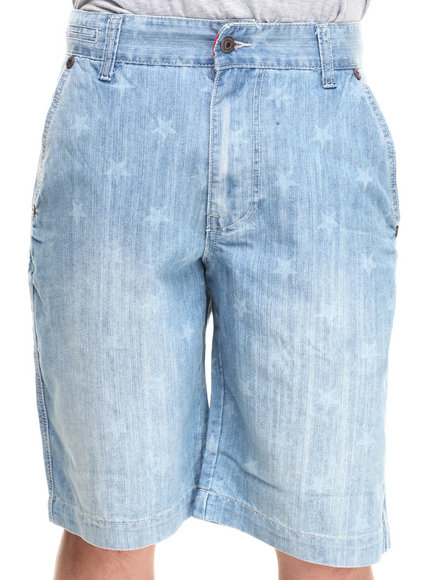 Parish Light Wash Star Denim Short