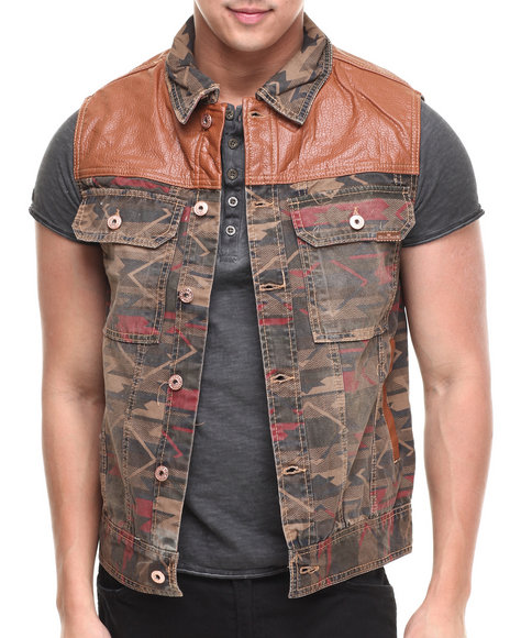 Parish Khaki Canvas Aztec Vest