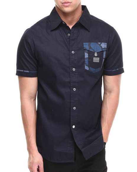 Parish Navy Gila S/S Button Down
