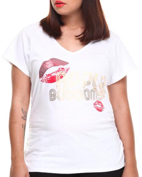 Apple Bottoms - Women White Lips Logo V-Neck Tee (Plus)