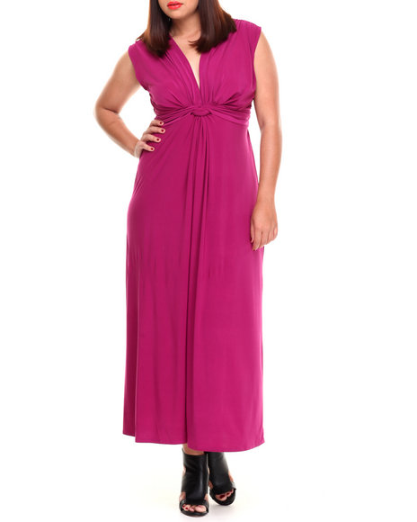 Paperdoll - Women Purple Knot Front Matte Jersey Maxi Dress (Plus)