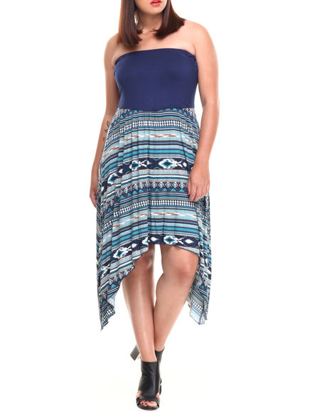 Paperdoll Navy Solid Tube Aztec Print Jersey Knit Dress (Plus Size)