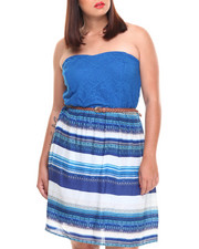 Plus Size - Crochet Tube Open Bow Back Dress (Plus)