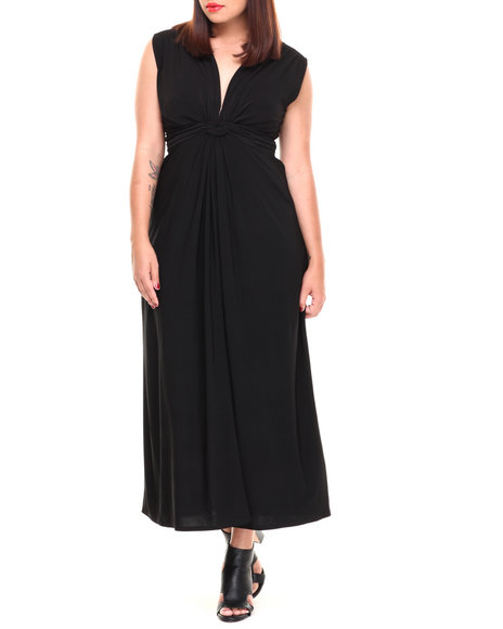 Paperdoll - Women Black Knot Front Matte Jersey Maxi Dress (Plus) - $14.99