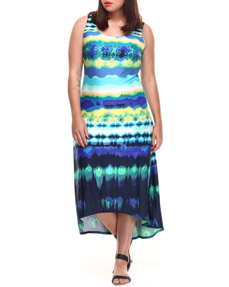 Paperdoll - Cut-Out Back Tie Dye Print Maxi Dress (Plus)