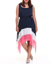 Dresses - Colorblock Hi-Low Hem Chiffon Dress (Plus)