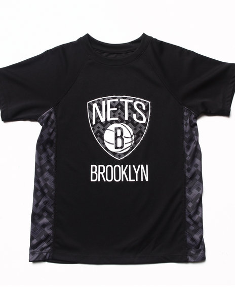 Nba Mlb Nfl Gear - Boys Black Brooklyn Nets Aztec Tee (8-20)