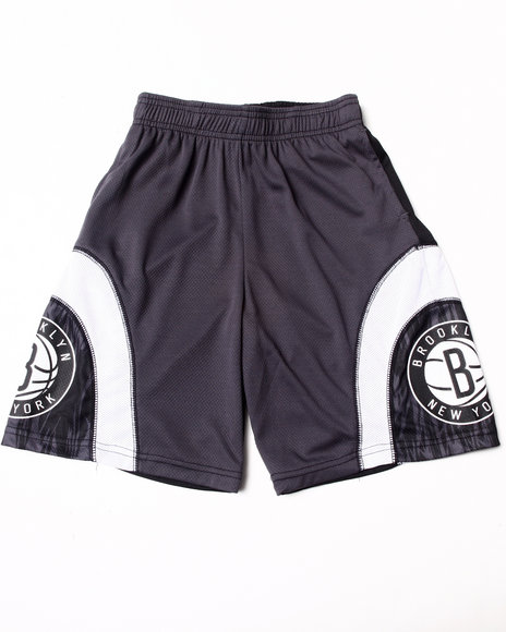 NBA MLB NFL Gear Boys Black Brooklyn Nets Asphalt Shorts (8-20)