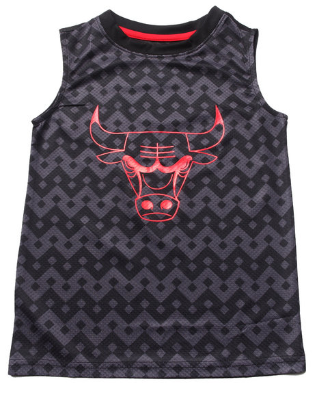 NBA MLB NFL Gear Boys Black Chicago Bulls Aztec Tank (8-20)