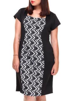 Paperdoll -  Chevron Colorblock Scuba Dress (Plus)
