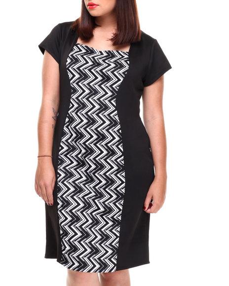 Paperdoll Black,White Chevron Colorblock Scuba Dress (Plus Size)