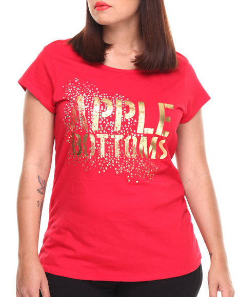 Apple Bottoms - Women Red Apple Bottoms Glitter Scoop Neck Tee (Plus) - $12.99