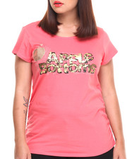 Plus Size - Bling Cheetah Logo Scoop Neck Tee (Plus)
