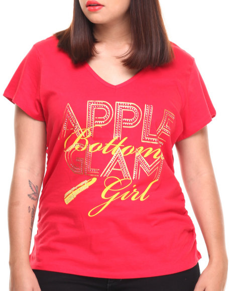 Apple Bottoms - Women Red Glam Girl V-Neck Tee (Plus) - $9.99