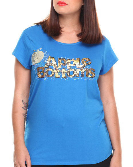 Apple Bottoms - Women Blue Bling Cheetah Logo Scoop Neck Tee (Plus) - $6.99