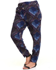 Plus Size - Abstract Diamond Print Chalis Pant (Plus)