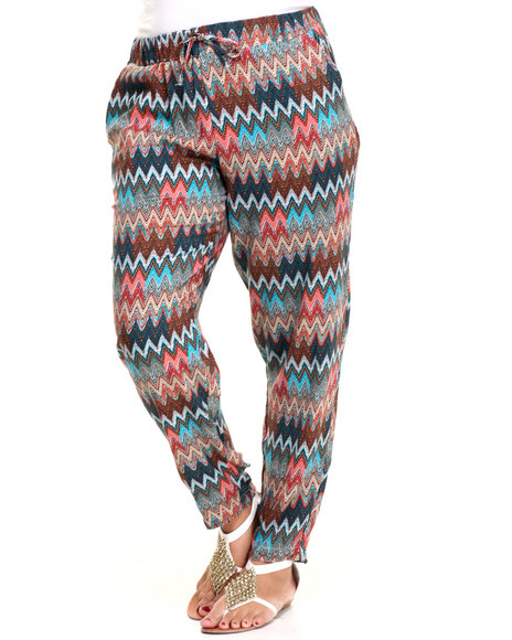 Fashion Lab - Women Multi Multi Zig-Zag Printed Chalis Pant (Plus)