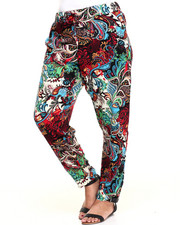 Plus Size - Exploded Floral Print Chalis Pant (Plus)