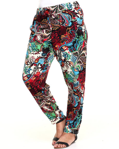 Fashion Lab - Women Multi Exploded Floral Print Chalis Pant (Plus)