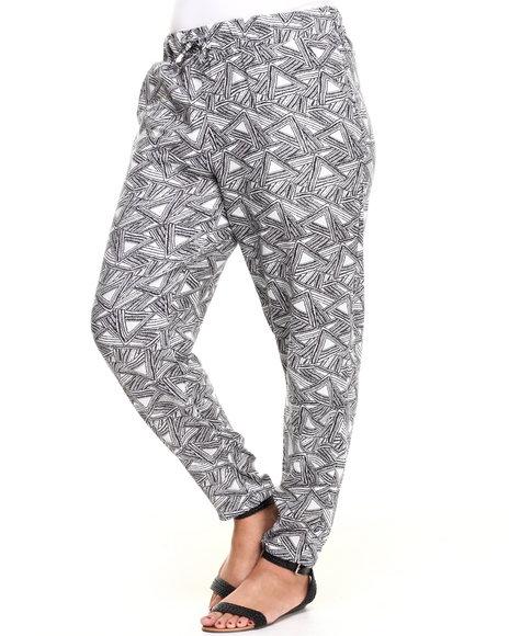 Fashion Lab - Women Black,White Triangle Geo Print Chalis Pant (Plus)
