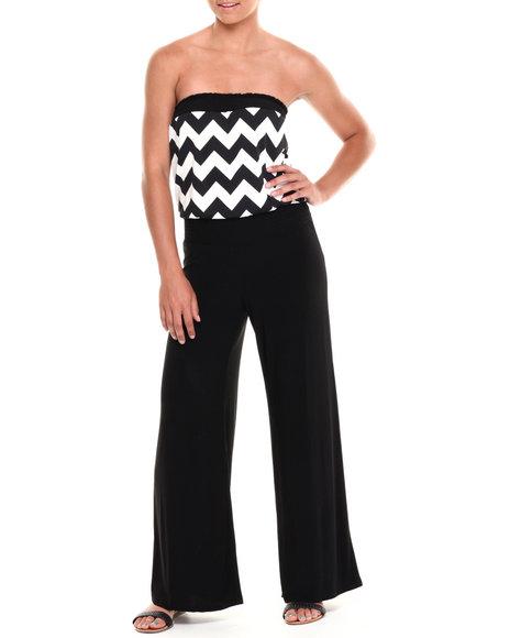 Paperdoll - Women Black,White Smocked Chevron Tube Wide Leg Jumpsuit