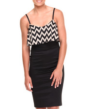Women - Chevron Chiffon Popover Ponte Dress