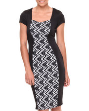 Women - Chevron Colorblock Scuba Dress