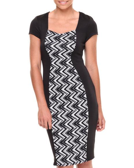 Paperdoll Black,White Chevron Colorblock Scuba Dress