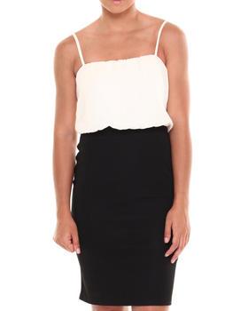 Paperdoll - Blouson Chiffon Top Textured Rib Dress