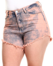 Shorts - Candy Highwaist Acid Wash Denim Cutoff Short (Plus)