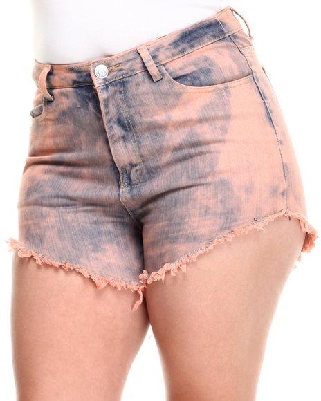 Fashion Lab - Candy Highwaist Acid Wash Denim Cutoff Short (Plus)
