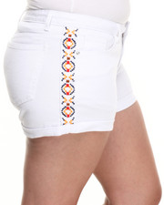 Plus Size - South Western Embroidered Side Stripe Denim Short (Plus)